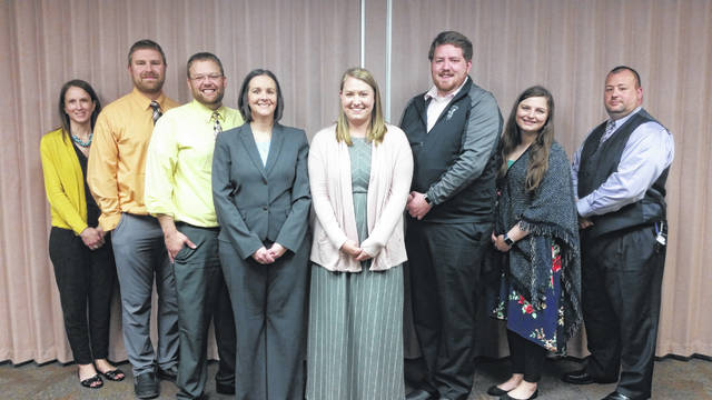 Teachers of the Year include, left to right, Ansonia – Sandra Siefring; Arcanum – Matt Grote; Bradford – Ryan Schulze; Franklin Monroe – Carrie Wiant; Greenville – Elizabeth Shields; Mississinawa Valley – Stephen Novak; Tri-Village – Jonna Raffel; and Versailles – John Jackson.