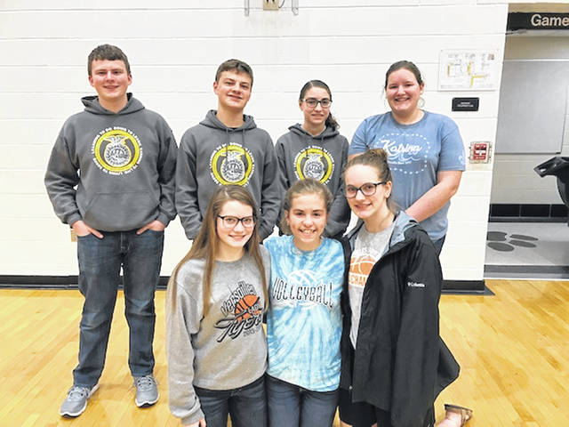 VERSAILLES – The Versailles FFA held its monthly meeting on April 29 and elected the 2019-2020 Versailles FFA Assistant Officers. The team includes (back row) Dalton Hesson, assistant vice-president; Dylan Meyer, assistant sentinel; Madison Henry, assistant reporter; Anna Barlage, assistant historian; (front row) Renea Schmitmeyer, assistant parliamentarian; Elise George, assistant secretary; and Emma George, assistant treasurer. Not pictured is Kobe Epperly, assistant student advisor.