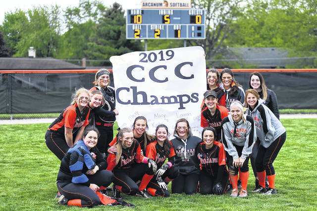 The Arcanum Lady Trojans used a 10-0 run rule senior night win to deafeat Miami East and claim the Cross County Conference championship outright.