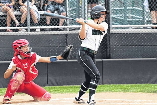 Greenville senior, Lani Shilt drills a 2-run homer to give the Lady Wave an early 2-0 lead in OHSAA Regional play in her last high school game playing for LWSB.