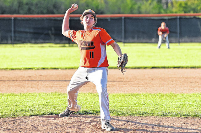 <strong>Peyton Beam pitches for Ansonia at home against Fort Recovery.</strong>