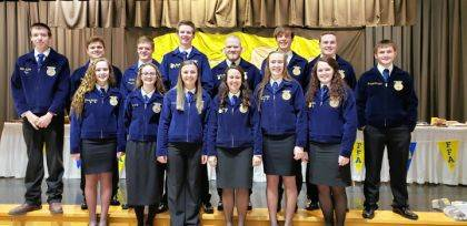 The 2018-2019 retiring officers are (back row) Grant Stachler, Elijah Livingston, Will Hall, Blake Scholl, Zeb Hannan, Justin Miller, Cody Dirksen, Max Dirmeyer, (front row) Kennedy Stachler, Taylor Cunningham, Leah Scholl, Emily Schmitz, Taylor Stachler, and Sidnie Hunt.