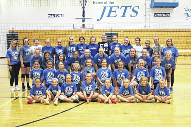 The 2019 Franklin Monroe Lady Jets Volleyball Camp campers, helpers and Coach Filbrun.