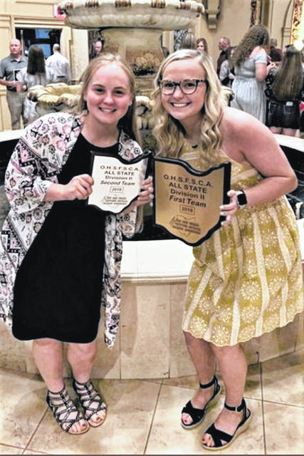 Morgan Gilbert (L) and Lani Shilt (R) recently received Ohio High School Fastpitch Softball Coaches Association (OHSFSCA) Division II All-State honors for their 2019 play.