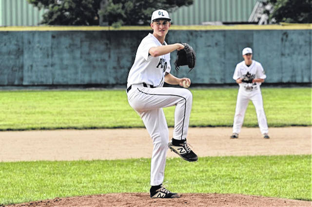 Greenville's Hayden Bush earns a win for Greenville American Legion Post Junior team over the visiting Arcanum ACME team.