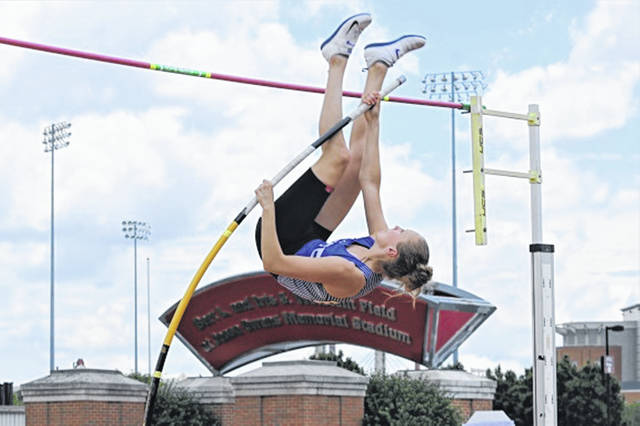 Franklin Monroe girls pole vaulter Selene Weaver goes for 12'2″ earning a PR and taking third in the OHSAA Division III girls pole vault event.