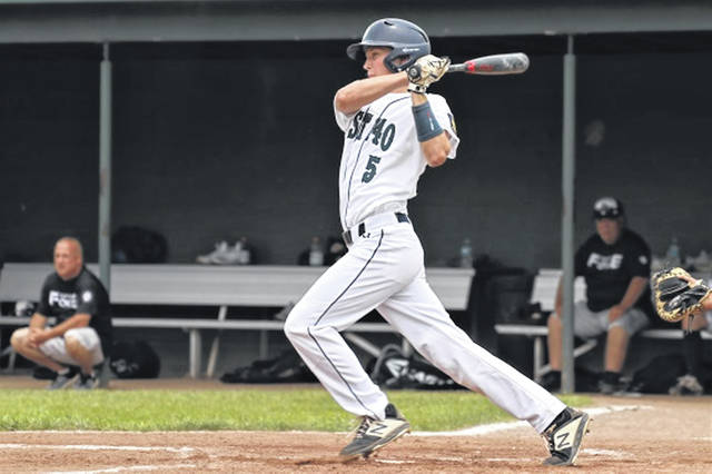Greenville American Legion Post 140 shortstop, Tyler Beyke hits for the local Thunder baseball team.