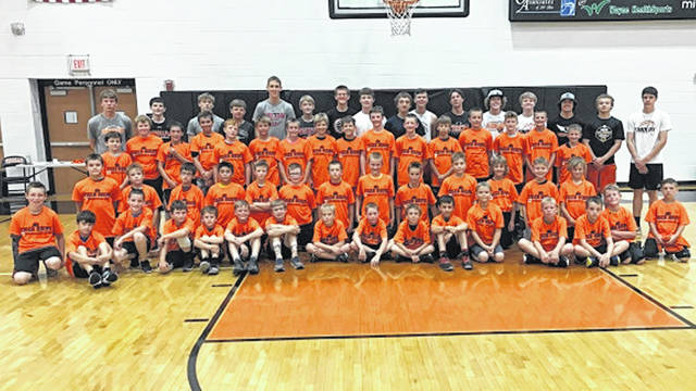 Fourth, fifth and sixth grade boys at the 2019 Versailles Elementary Boys Basketball Camp.