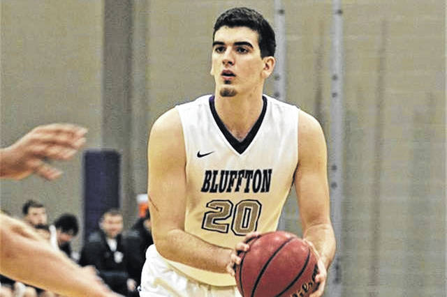 Greenville graduate Aaron Rich looks to shoot in a 2019 Bluffton University 72-70 win over the Mount St. Joseph Lions.