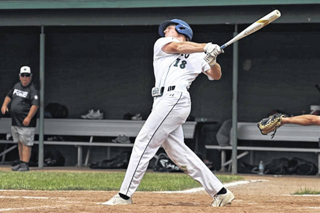 Casey Jones picks up a hit for Post 140 in weekend tournament win over the Dayton Force.