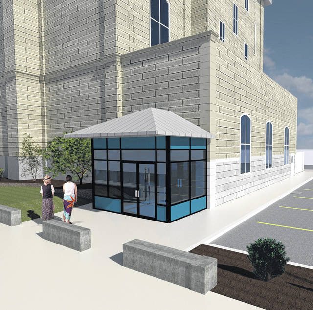 Above, the architect's rendering of the new rear security entrance for the Darke County Courthouse.