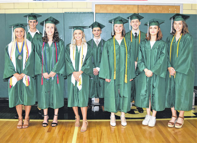 The Darke County Foundation awarded scholarships to 9 graduates of Greenville High School class of 2019. Front row: Ashley Jolley, Rachel Unger, Jada Garland, Lauren Hartzell, Lily Stiefel, Lauren Dull. Back row: Joseph Edwards, Andrew Kiryluk, Jordan Dill.