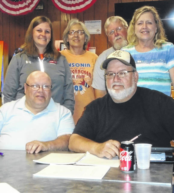 Serving on the committee for the Ansonia Red, White and Bike Bicycle Poker Run are, seated from left to right, Jimmy Meade and Darrin Shook, and standing, LeighAnn Harrod, Dixie Stone, Dave Webb and Carleen Beisner. It will be held July 6.