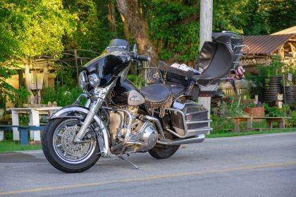 The driver and passenger of this motorcycle were injured after striking a deer.