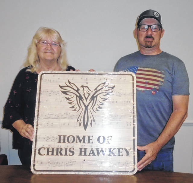 Linda and Duane Hawkey are going to be proud in install his sign at the entrance of Union City, Ohio, once approval has been given. It is in honor of their son, Chris, who is doing quite well in the entertainment field.