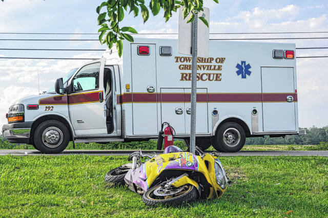 A motorcyclist was thrown after losing control of the cycle on State Route 502 on Sunday.