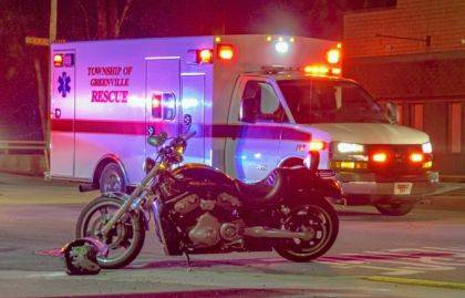 The driver and passenger of this motorcycle were taken to Wayne HealthCare after rear-ending a car.
