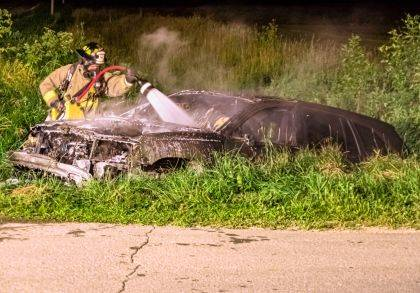 Versailles firefighters responded to the scene of a vehicle fire early Saturday morning. The vehicle appeared to have been in a crash, but was unoccupied.