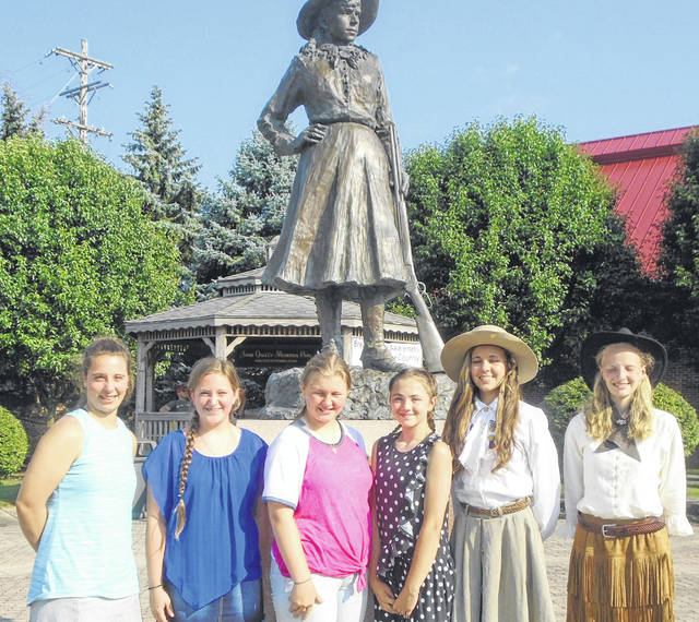 Competing in this year's Miss Annie Oakley Shooting Contest are, from left to right, Cierra Miller, Paige Brewer, Alexa Miniard, Isabella Gulley, Lauren Wright and Emily Wenning.