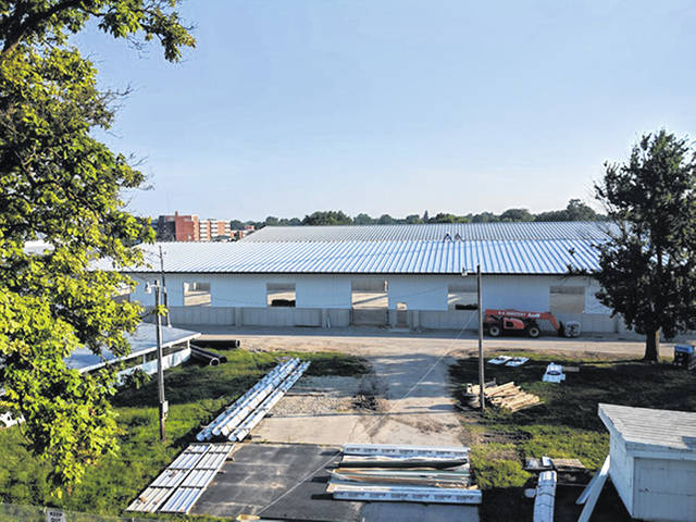 Courtesy Photo Pictured is the new swine barn which is on schedule for completion by the time of the 163rd annual Great Darke County Fair. It was shared at the Wednesday fair board meeting that the Barrow Boosters had raised $5000 to put towards the new barn.