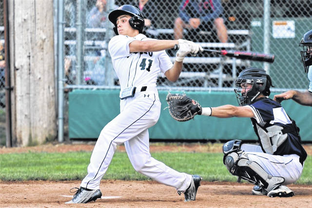 Greenville Thunder Legion Post 140's Logan Stastny takes a turn at the plate.