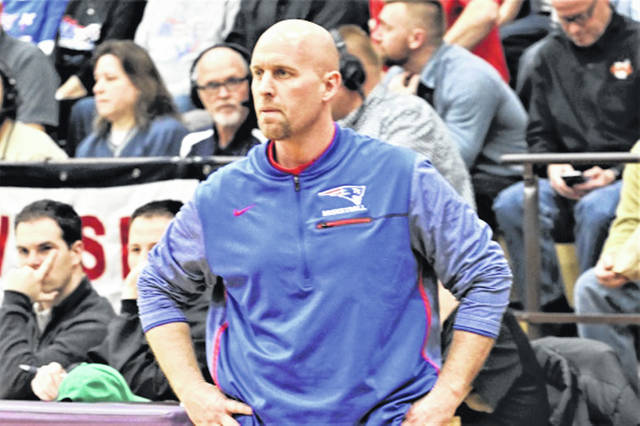 Tri-Village Patriots Athletic Director Brad Gray coaches the Lady Patriots to a 2018 OHSAA tournament win.