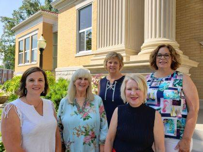 DCCA recognized sponsors of the upcoming Barbecue and Blues fundraiser. Angie Arnold, Becky Luce, Gail Overholsler and Susie Halley, director of the Greenville Public Library with DCCA Executive Director Andrea Jordan.