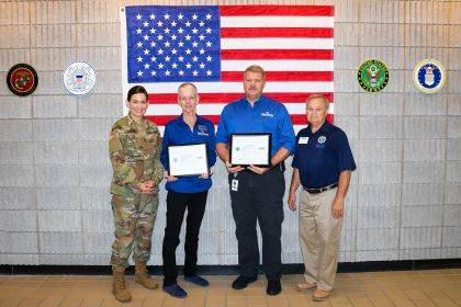 Shown are Brandi Olberding, director of apprenticeships and work-based learning, Dr. Doreen Larson, president of Edison State, Dr. Tony Human, dean of professional and technical programs, and Eddie Reed, western region deputy chair of the ESGR.