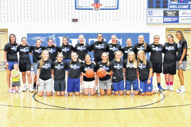 The 2019 Franklin Monroe Lady Jets Junior High Camp campers, coaches and high school helpers.