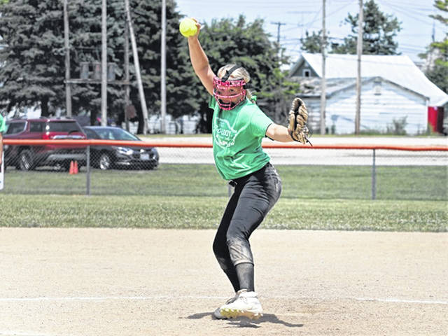 Ava Thatcher pitches for Greenville 12U softball team in tournament game with Tri-Village at Arcanum.