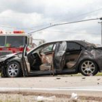 Two-vehicle crash results in fire