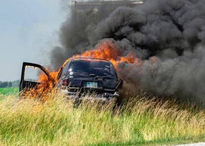 Ansonia firefighters were called to extinguish a vehicle fully engulfed in flames after a two-vehicle crash.