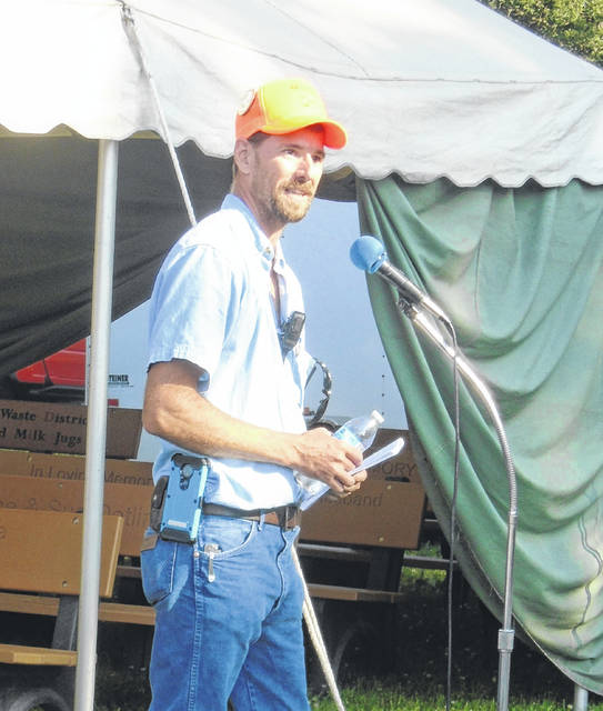 Chet Linebaugh, in his first year as president of the Darke County Power of the Past, was one of the speakers at opening ceremonies of the organization's 20th annual reunion on Thursdsay morning.