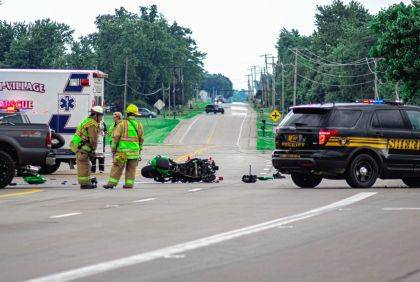 Darke County Sheriff Deputies, New Madison Fire, Tri-Village Rescue and CareFlight responded to a fatal crash involving a motorcycle at the intersection of US 127 and US 36.