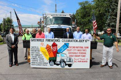 Some of the donors for Greenville's fireworks are Jeff Kniese (Greenville Federal), Dick Brown (Brown Family Foundation), Susan Barker (Greenville Federal), Keith Foutz, John Swallow (Second National Bank), John Warner (Brethren Retirement Community), Kent James (Greenville National Bank), Greg Zechar (Zechar Bailey Funeral Home), and Mayor Steve Willman.