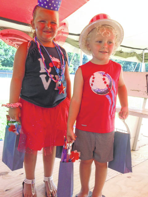 Rylee Barbour, left, and Gracen Neal were selected as this year's Little Miss and Mr. Red White and Blue for Ansonia's Fourth of July celebration.