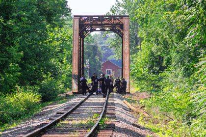 First responders were involved in a two-hour standoff with a suicidal man at this railroad trestle.