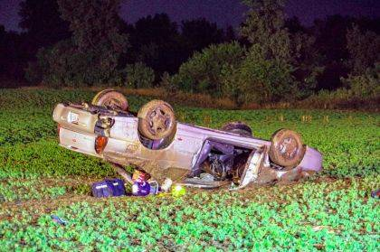 Two people were injured in a rollover crash on Children's Home Bradford Road near Greenville.