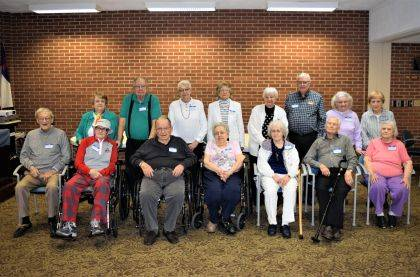 """<p class=""""body"""">GREENVILLE – The Greenville High School Class of 1948 held its 71st year reunion at the Brethren Retirement Community, Brick Room, on May 4. Those in attendance were (front row) Harvey Pierce, Dick Faulkner, Richard Robbins, Doris Rhoades Mikesell, Betty Oberer Best, Bob Hathaway, Phyllis Shook Townsend, (back row) Vanis Lephart Brumbaugh, Jack Brandt, Nancy Nealeigh Wenger, Phyllis Beisner Hathaway, Phyllis Bowman Null, E.J. Byram, Arlene Fourman Hicks and Shirley Stebbins DiRocco."""