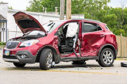 The driver of this Buick Encore is believed to have pulled-out into oncoming traffic.