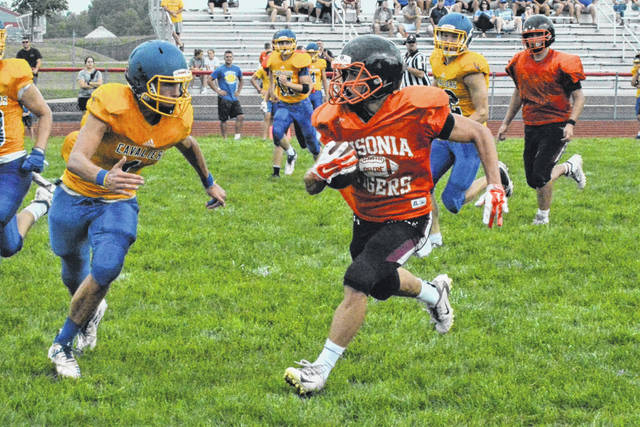 Ansonia gets a big gain the teams preseason football scrimmage.