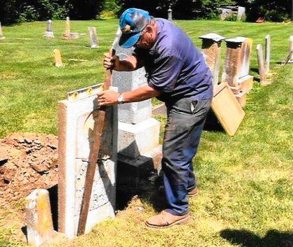 Joe Beatty was instrumental in restoring the grave marker for Thomas Beatty, one of the early settlers in Darke County.