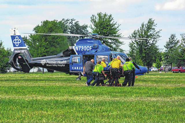 Following a fall from the roof of a concession stand at the Darke County Fairgrounds on Wednesday, one male was transported to Miami Valley Hospital by CareFlight.