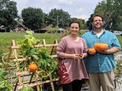 Caitlyn Clark and Warren Richards display some of their harvest.