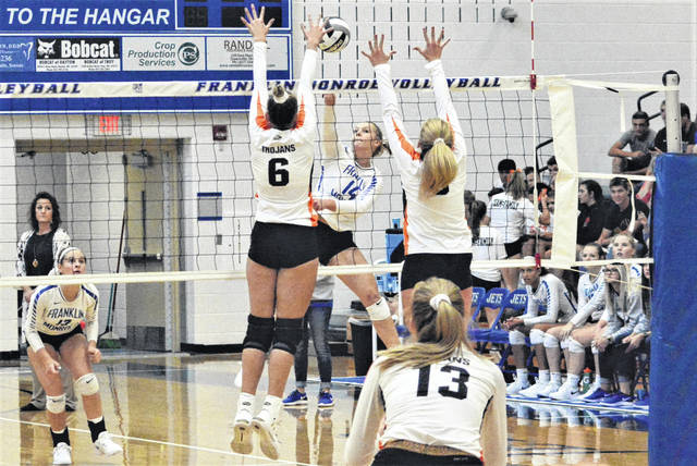 Chloe Peters gets a kill for the Lady Jets in the team's win over Arcanum.