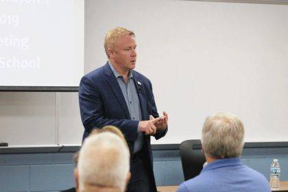 Congressman Warren Davidson spoke to approximately 50 individuals at a Town Hall in Versailles.