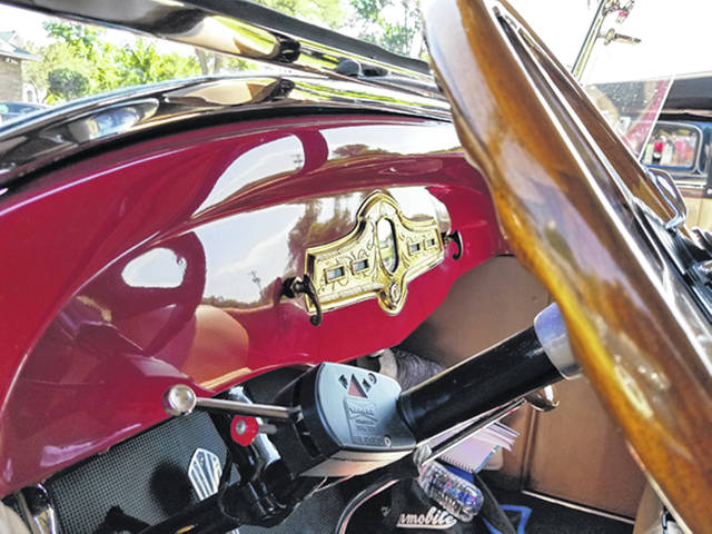 Bethany J. Royer-DeLong | Darke County Media A look inside one of the almost two-dozen Hupmobiles parked outside the Garst Museum on Wednesday. The Hupmobile Club members were on a five-day tour that included a visit to several Greenville locations.