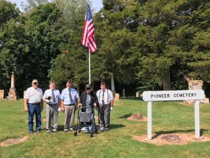 DARKE COUNTY – Thanks to Top Priority Veterans and the American Legion Honor Guard, Pioneer Cemetery now has an American Flag flying over the graves. The cemetery is one of the oldest in the county and hasn't had a flag flying all the time in over 20 years. On-hand for the dedication were Viet Nam vet Don Delaplane, Army; Richard Hyatt, Navy; Fred Dean, Air Force; 92-year-old Bob Boyd, WWll Navy vet; Larry Henderson, Navy; and Anika Henderson sang the National Anthem.