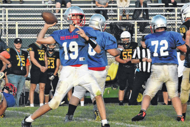 Tri-Village runs a pass play in scrimmage with Troy Christian.