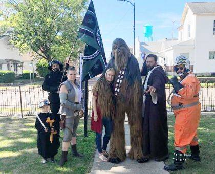 Members of the Rebel Legion attended the Arcanum Public Library's end of summer party.